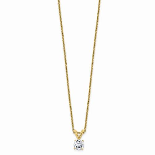 14 Karat Yellow Gold Pendant With One 0.08Ct Round Diamond On 14