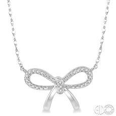 10 Karat White Gold Bow Pendant With 0.07Tw Round Diamonds Length: 18
