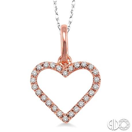 14 Karat Rose Gold Heart Pendant With 0.10Tw Round Diamonds Length: 18