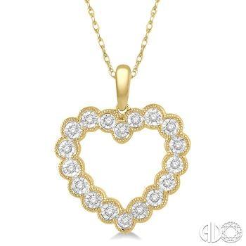 10 Karat Yellow Gold Heart Pendant With 0.12Tw Single Cut Diamonds on 18