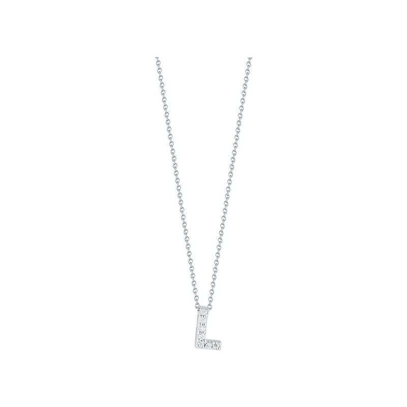 Roberto Coin: 18 Karat White Gold  Love Letter Initial L  Pendant With 7=0.03Tw Round Diamonds   Length: 18