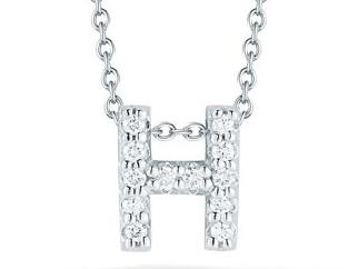 Roberto Coin: 18 Karat White  Gold Love Letter H Pendant With 12=0.06Tw Round Diamonds Length: 18