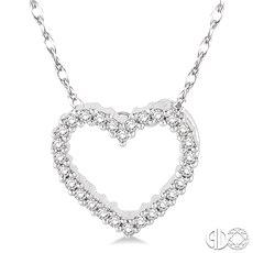 White 10 Karat Heart Pendant With 28=0.08Tw Single Cut I/J I1-I2 Diamonds