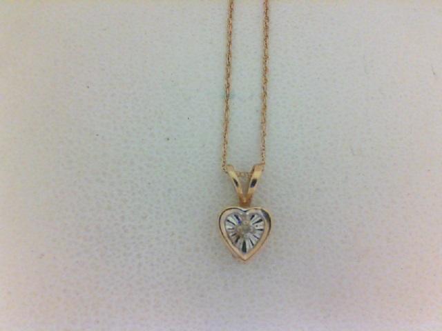 Yellow Gold 14 Karat heart Pendant with diamond accent on 18