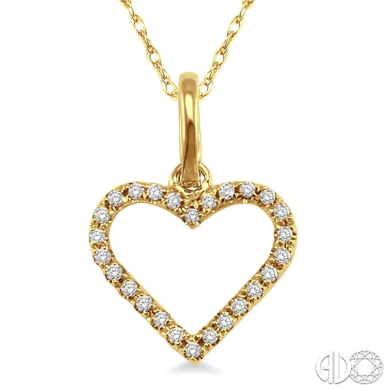 Yellow 14 Karat Pendant With 0.10Tw Round Diamonds Name: HEART Length: 18