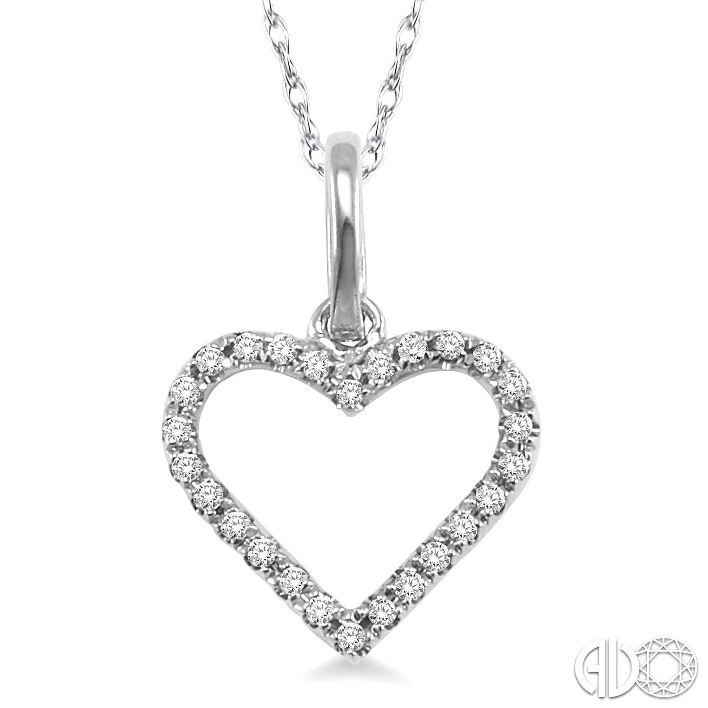 14 Karat White Gold Open Heart Pendant With 26=0.10Tw Round Diamonds On 18