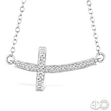 Sterling Silver Curved Sideways Cross Necklace With 0.03Tw Round Diamonds   Length: 18 Inch