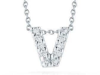 Roberto Coin: 18 Karat White Gold Lovr Letter V Pendant With 10=0.05Tw Round Diamonds Length: 18