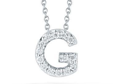 Roberto Coin: 18 Karat White Gold Love Letter G Pendant With 14=0.06Tw Round Diamonds Length: 18