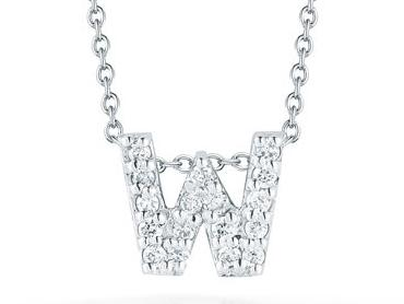 Roberto Coin: 18 Karat White Gold Diamond Love Letter W Pendant With 17=0.08 ct Length: 18