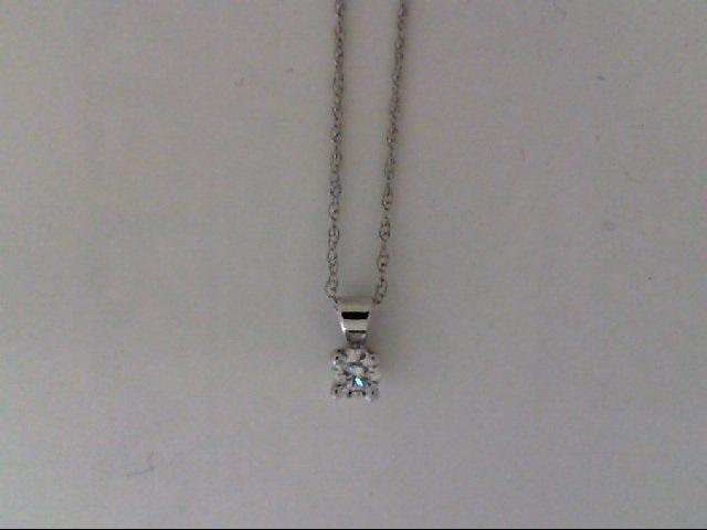 White 14 Karat Pendant With One 0.05Ct Round Diamond  On 18 Inch  Chain