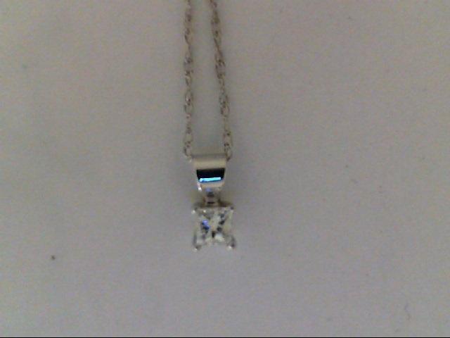White 14 Karat Pendant With One 0.05Ct princess Diamond  On 18 Inch  Chain