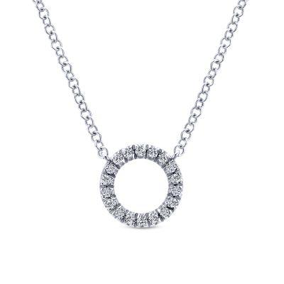 Gabriel & Co 14 Karat White Gold Diamond Circle Pendant 0.09 Ct