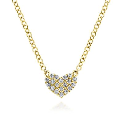Gabriel & Co: 14 Karat Yellow Gold Diamond Pave' Heart Pendant With 19=0.07Tw 17.5 inches