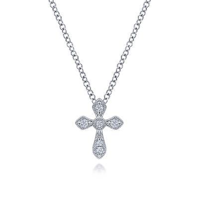 Gabriel & Co:14 Karat White Gold Diamond  Cross 0.04 ct Pendant