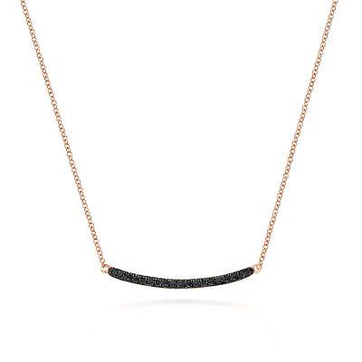 Gabriel & Co 14 Karat Rose Gold Black Diamond Curved Bar Pendant 0.18 Ct 18 inch