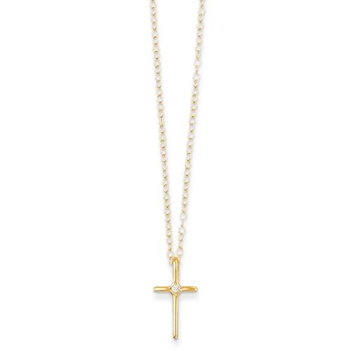 14 Karat Yellow Gold Cross Pendant With One 0.01Ct Round Diamond On15