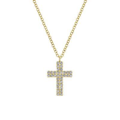 Gabriel & Co: 14 Karat Yellow Gold Diamond Cross Pendant With 32=0.16Tw 17.5 inch