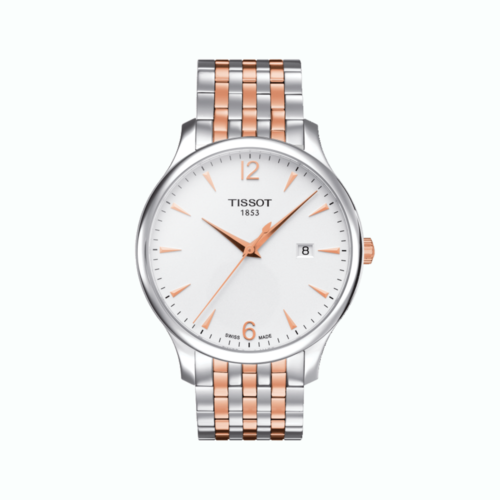 Tissot: Rose PVD Over Stainless Steel 42mm Tradition Quartz WatchWith Ivory Dial With Arabic And Index Numerals