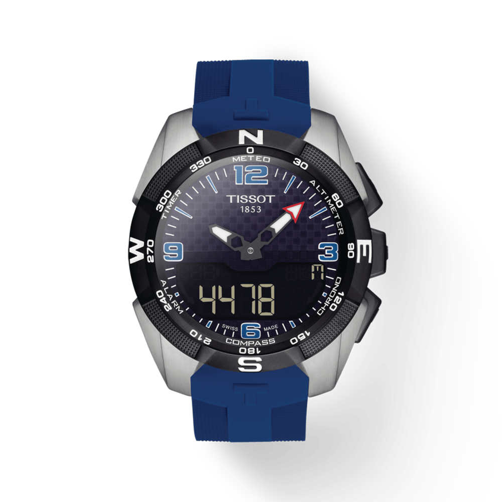 Tissot: Titanium Limited Edition 45mm T-Touch Solar Ice Hky17 Quartz Watch On Silcon StrapWith Black Dial