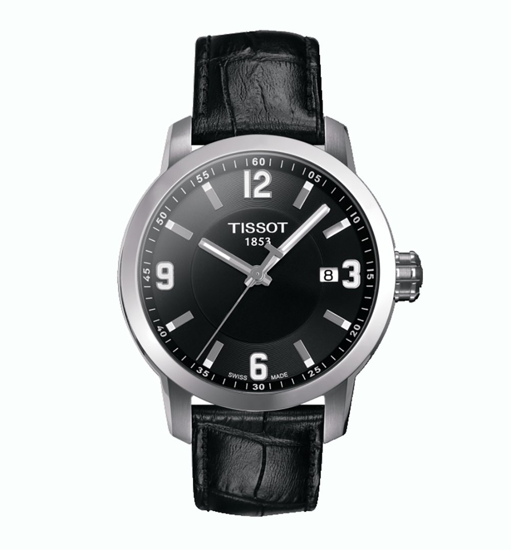 Tissot: Stainless Steel 39mm  Quartz WatchWith Black Arabic Dial and Black Leather Strap