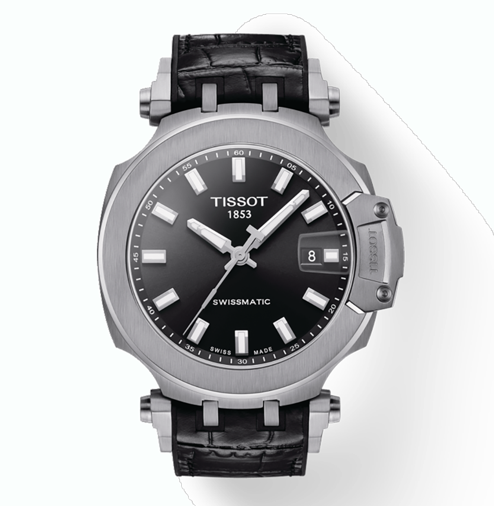 Tissot: Stainless Steel 45mm T Race Swissmatic  Automatic WatchWith Black Index Dial And Black Leather And Rubber Strap