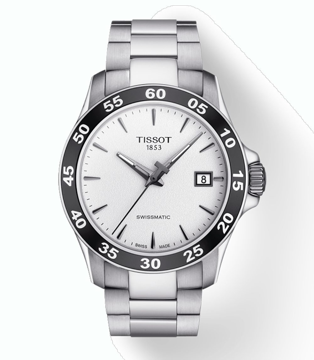 Tissot: Stainless Steel V8  Swissmatic Automatic WatchClasp: DeploymentDial Color: WhiteMM: 42