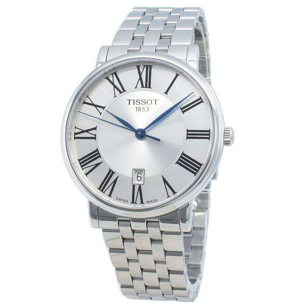 Tissot: Stainless Steel Quartz WatchName: CarsonClasp: DeploymentFinish: Satin And PolishDial Color: SilverMM: 40