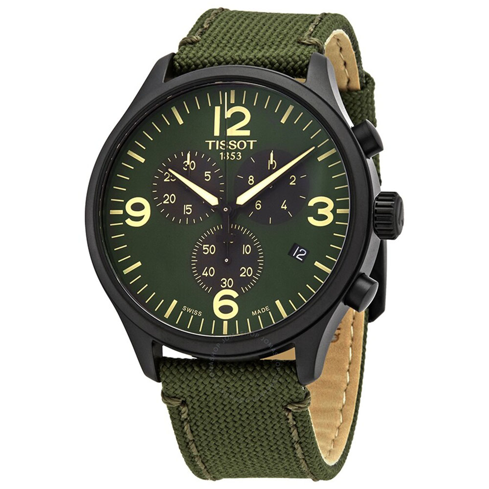 Tissot: Stainless Steel Black Pvd Quartz Chronograph WatchName: Chrono XLName Of Bracelet: Green FabricClasp: Tang BuckleDial Color: GreenMM: 45