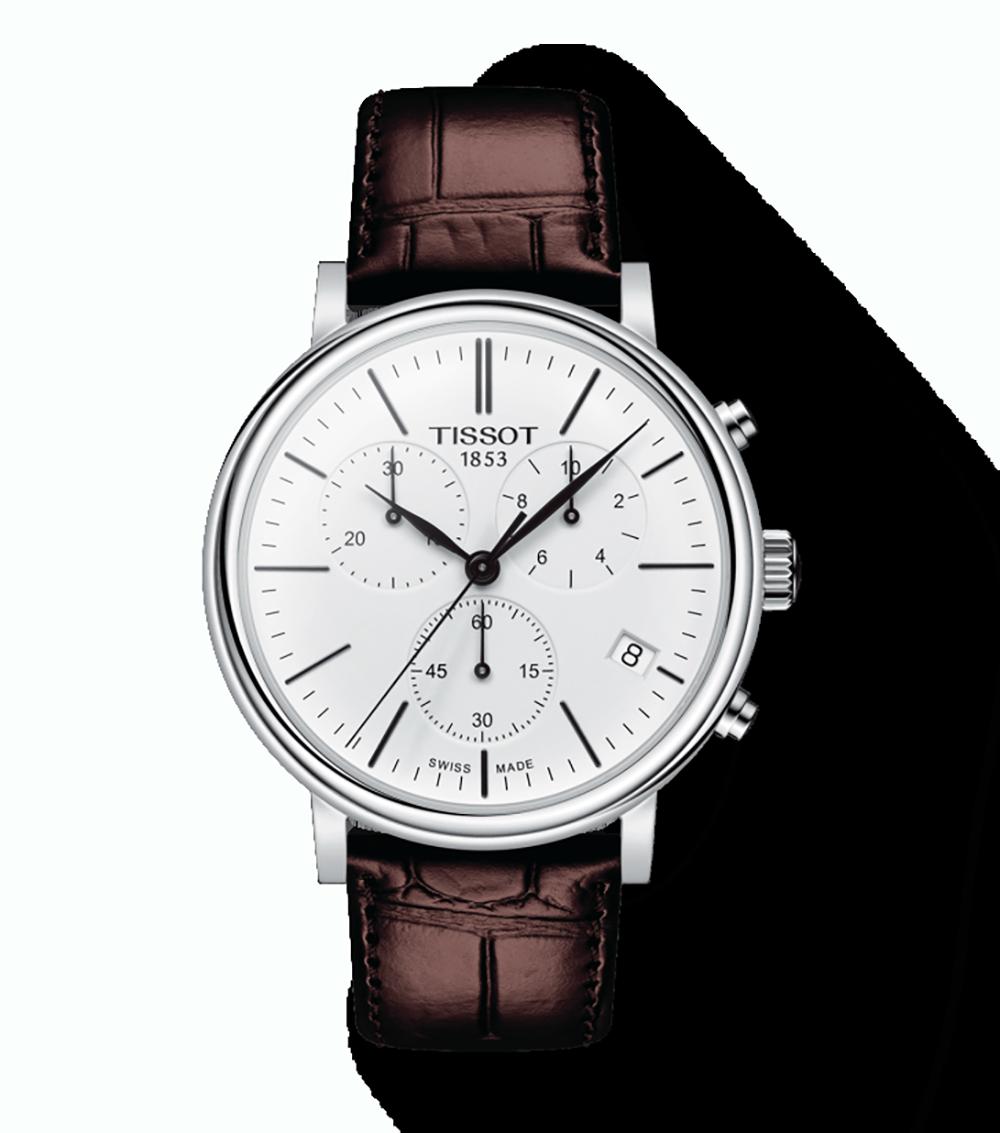 TISSOT: Stainless Steel Quartz Chronograph WatchName: CARSON PREMIUMName of Bracelet: BROWNClasp: Tang BuckleFinish: PolishedDial Color: WHITEMM: 41