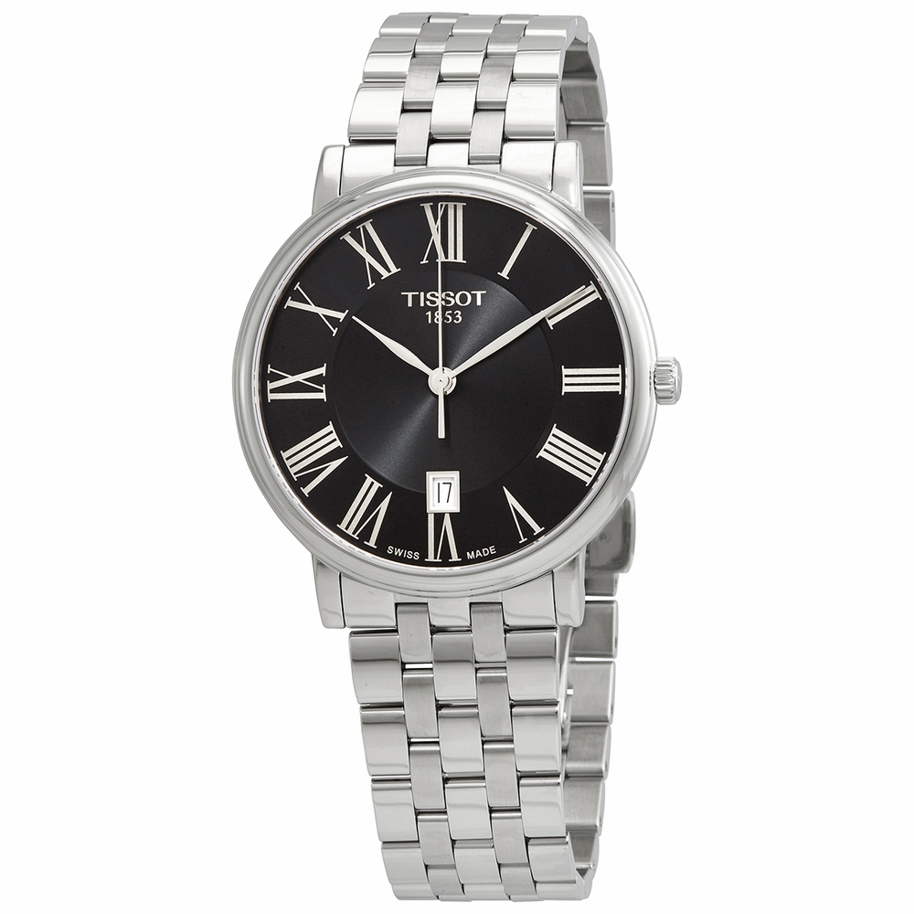 TISSOT: Stainless Steel Quartz WatchName: CARSONClasp: IntegratedFinish: Satin and PolishDial Color: BLACKMM: 40