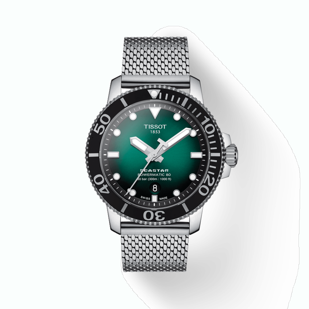 TISSOT: Stainless Steel Automatic WatchName: SEASTAR 1000Clasp: Flip LockFinish: MESHDial Color: GREEN GRADIENTMM: 43