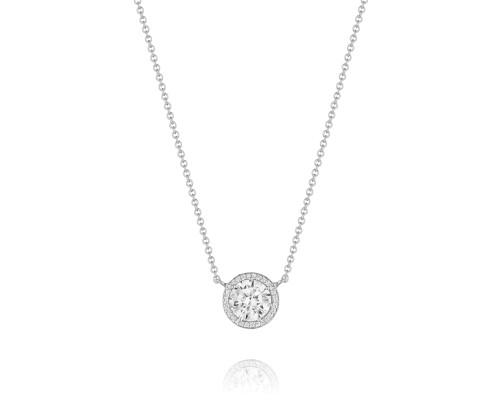 Tacori:  18 Karat White Gold Necklace With 0.11Tw Round Diamonds 7.5mm CZ Center (Semi-Mount)  Length: 16