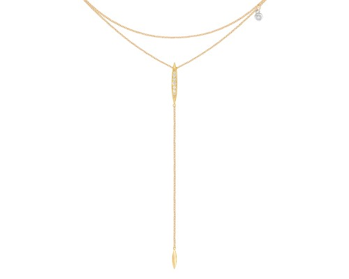 Tacori:  18 Karat Yellow Gold  Double Chain Surfboard Necklace With 0.11Tw Round Diamonds  Lariat Length: 27