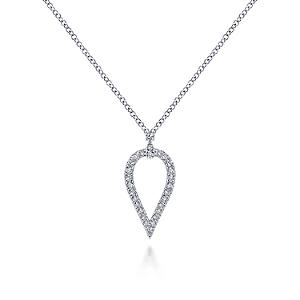 Gabriel & Co: 14 Karat White Gold Inverted Teardrop Diamond Pendant Necklace With 0.19Tw Round Diamonds Length: 17.5