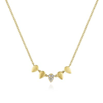 Gabriel & Co: 14 Karat Yellow Gold Teardrop Station Diamond Necklace With 5=0.04Tw