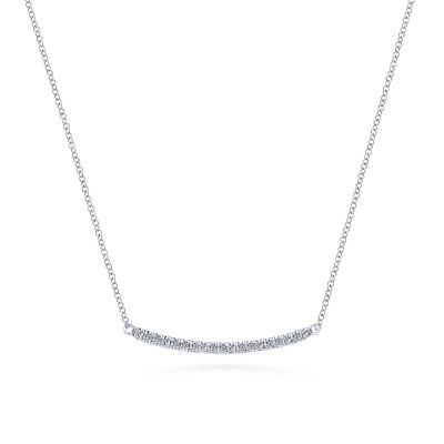 Gabriel & Co: 14 Karat White Gold Diamond Pave' Curved Bar Necklace With 19=0.18Tw Round G/H SI1-2 18 Inch Adjustable