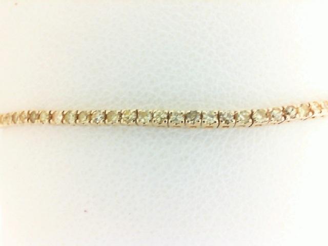 14 Karat Yellow Gold Tennis Bracelet With 116=1.01Tw Round Yellow Diamonds