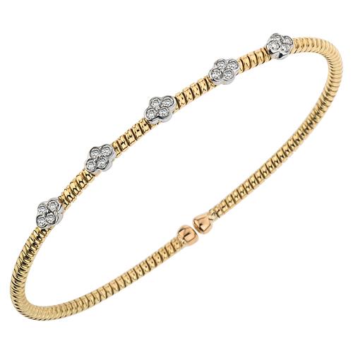 18 Karat Yellow/White Gold  Cuff Bracelet With 0.30Tw Round Diamonds