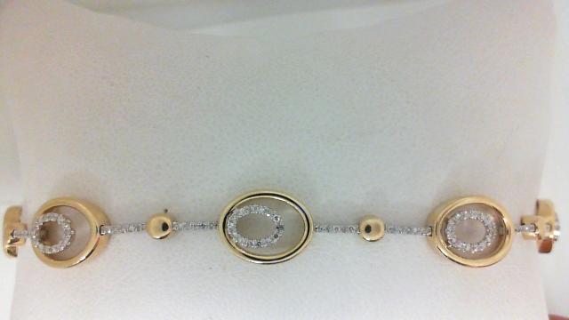 14 Karat Yellow/White Gold Bracelet With 168=0.41Tw Round H/I Si1-2 Diamonds