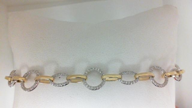 14 Karat  Yellow/White Gold Bracelet With 307=0.70Tw Round H/I Si1-2 Diamonds