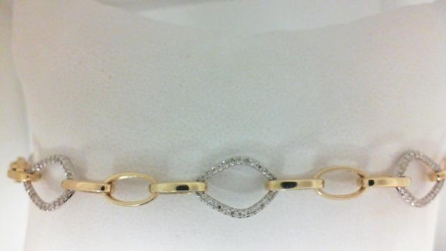 14 Karat Yellow/ White Gold Bracelet With 180=0.43Tw Round I/J Si1-2 Diamonds