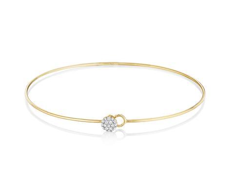 Phillip's House: 14 Karat Yellow Gold Infinity Love Always Wire Bracelet With 19=0.12Tw Round Diamonds Length: 8
