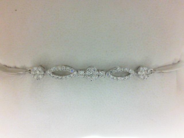14 Karat White Gold Bracelet With 51=0.49Tw Round Diamonds Length/Size: Adjustable