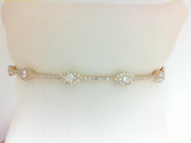 14 Karat Yellow Gold Bracelet With 5=0.25Tw Round H/I Si1-2 Diamonds And 118=0.38Tw Single Cut H/I Si1-2 Diamonds
