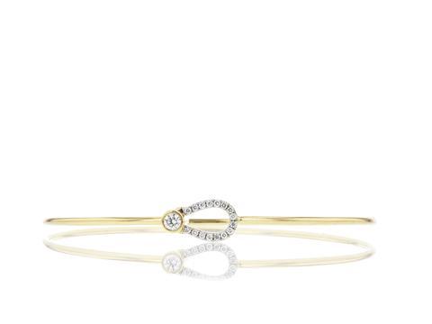Phillip's House: 14 Karat Yellow Gold Affair /Keyholet Bangle Bracelet With 17=0.23Tw Round G/H Si1 Diamonds Length/Size: 8