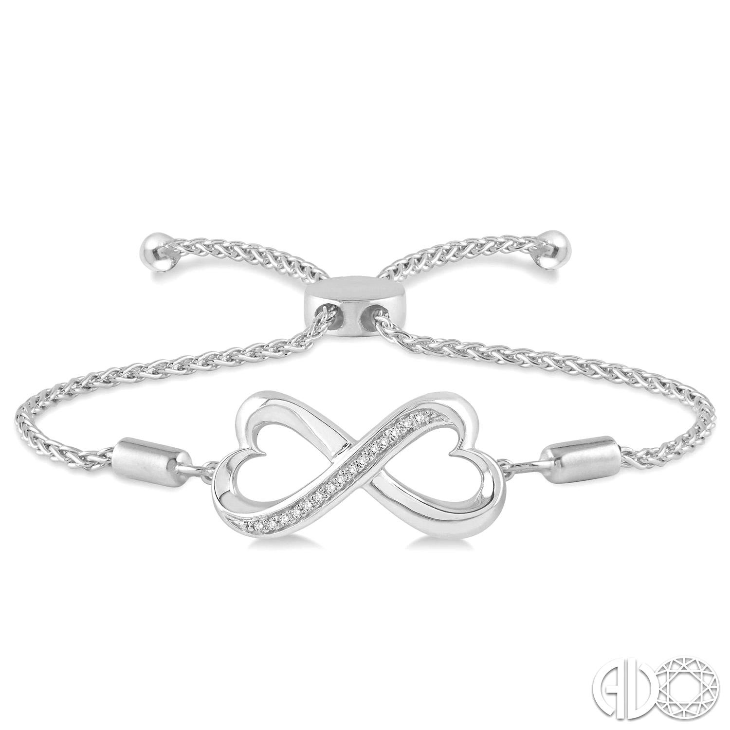 Sterling Silver Wheat Bracelet With 15=0.05Tw  Diamonds Style Name: INFINITY HEART LARIAT