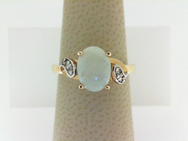 14 Karat Yellow Gold 8X6mm  Oval Opal  & .04Ctw Diamond Ring
