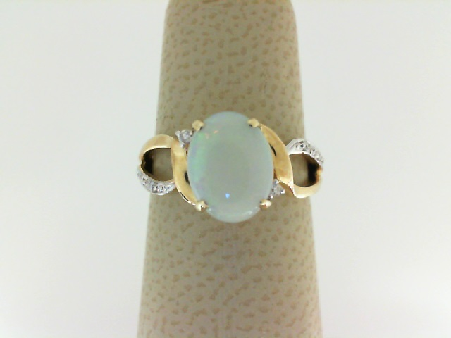 14 Karat Yellow Gold With  9X7mm Oval Opal & 0.05Ctw Diamond Ring