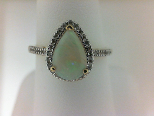 14 Karat White/Yellow Gold Fashion Ring With One 0.60Ct Pear Opal And 34=0.13Tw Round Diamonds Ring Size: 7